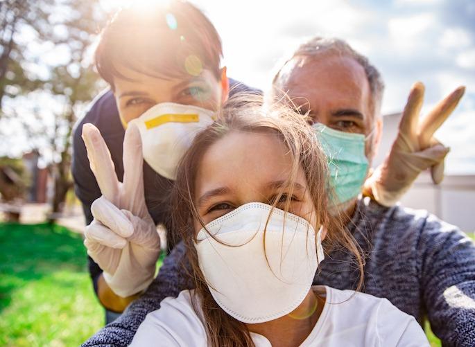 Optimistic Family selfie during Coronavirus emergency